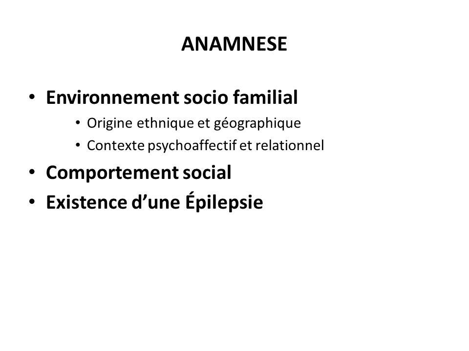 ANAMNESE Environnement socio familial Comportement social