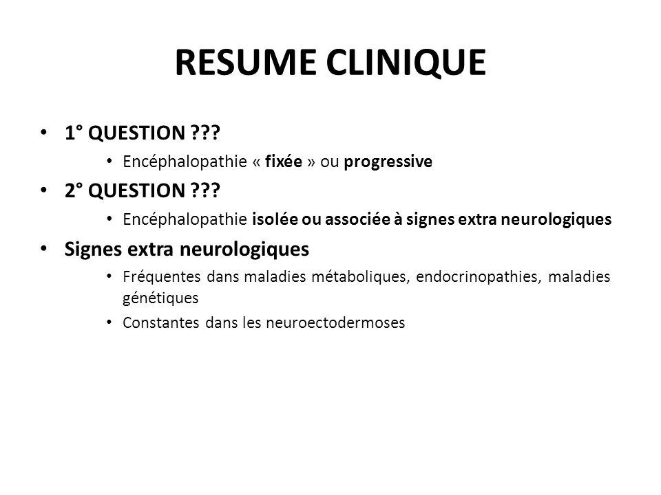 RESUME CLINIQUE 1° QUESTION 2° QUESTION