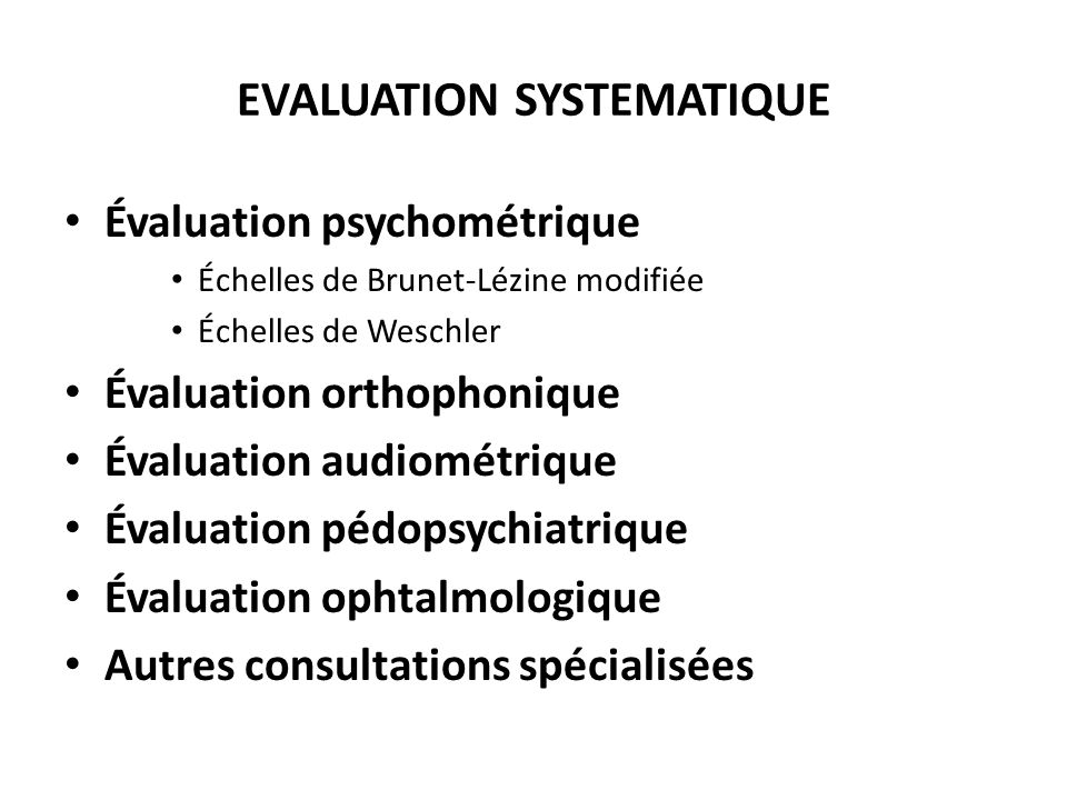 EVALUATION SYSTEMATIQUE