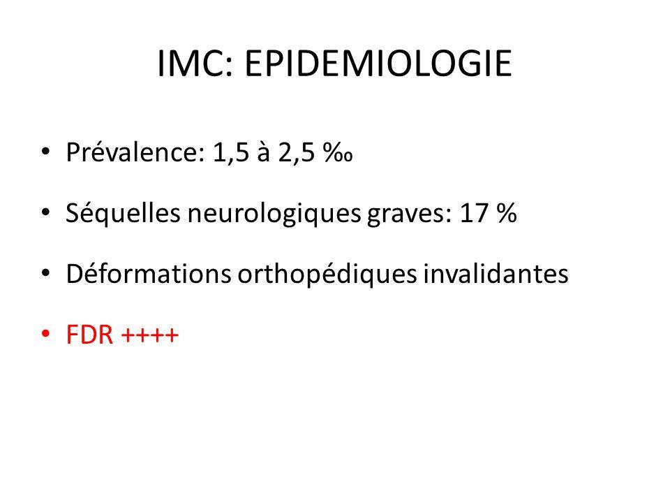 IMC: EPIDEMIOLOGIE Prévalence: 1,5 à 2,5 ‰