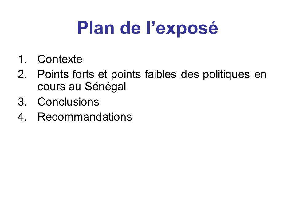 Plan de l'exposé Contexte