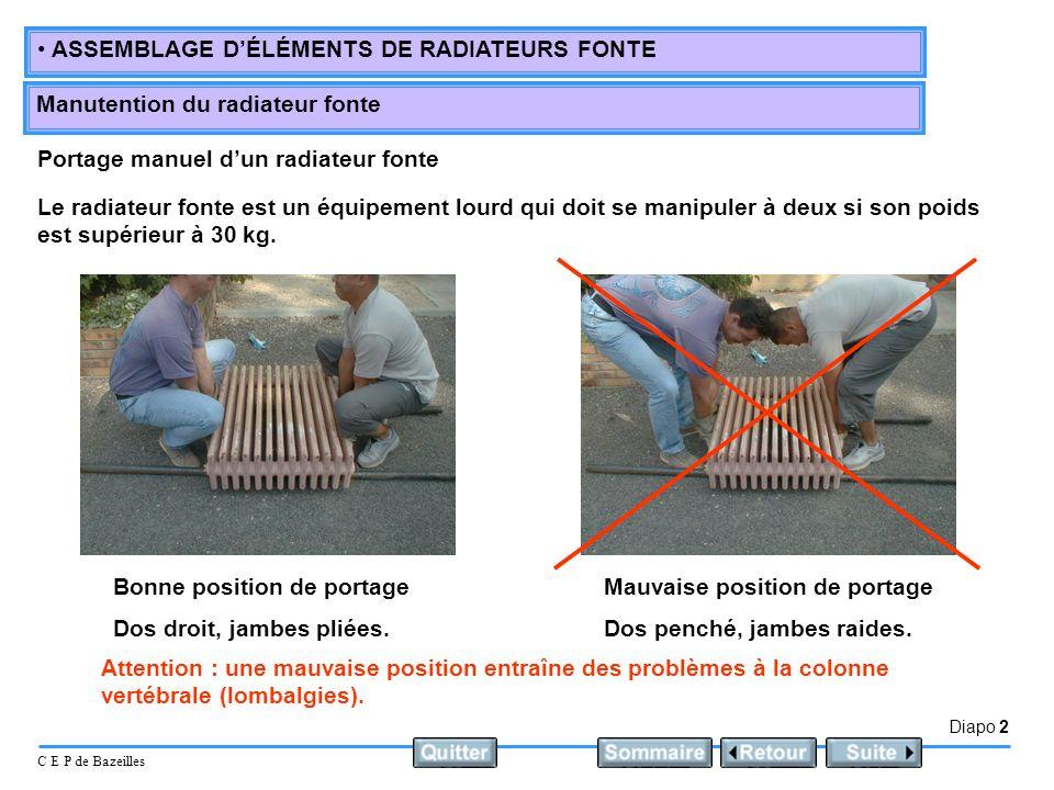 Portage manuel d'un radiateur fonte