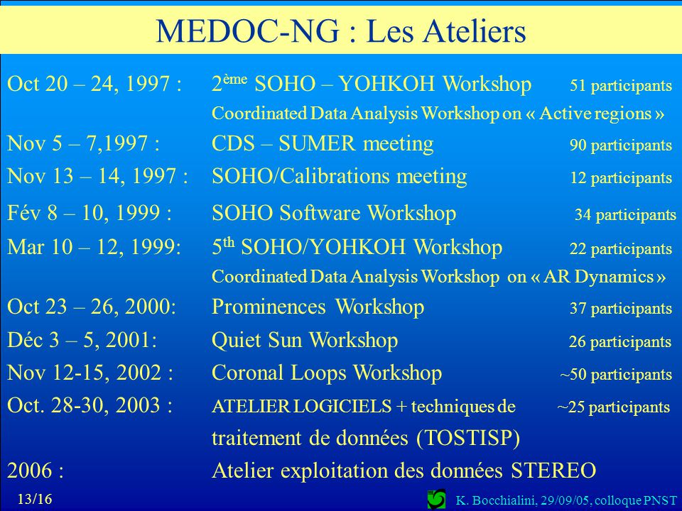 MEDOC-NG : Les Ateliers