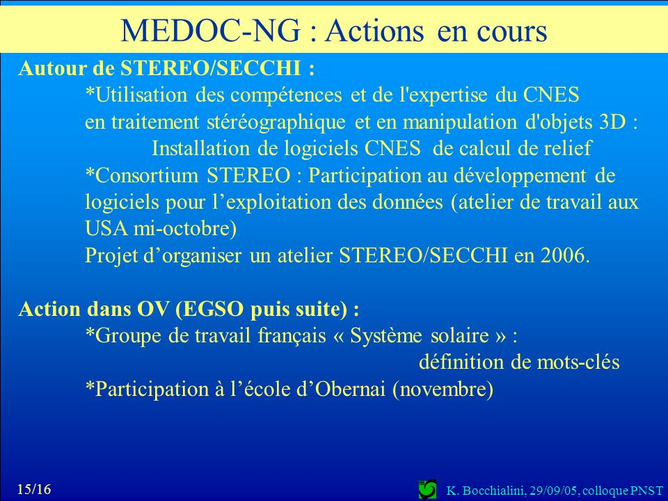MEDOC-NG : Actions en cours