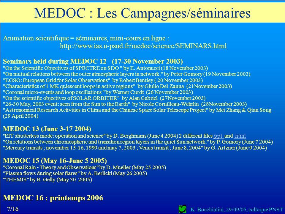 MEDOC : Les Campagnes/séminaires