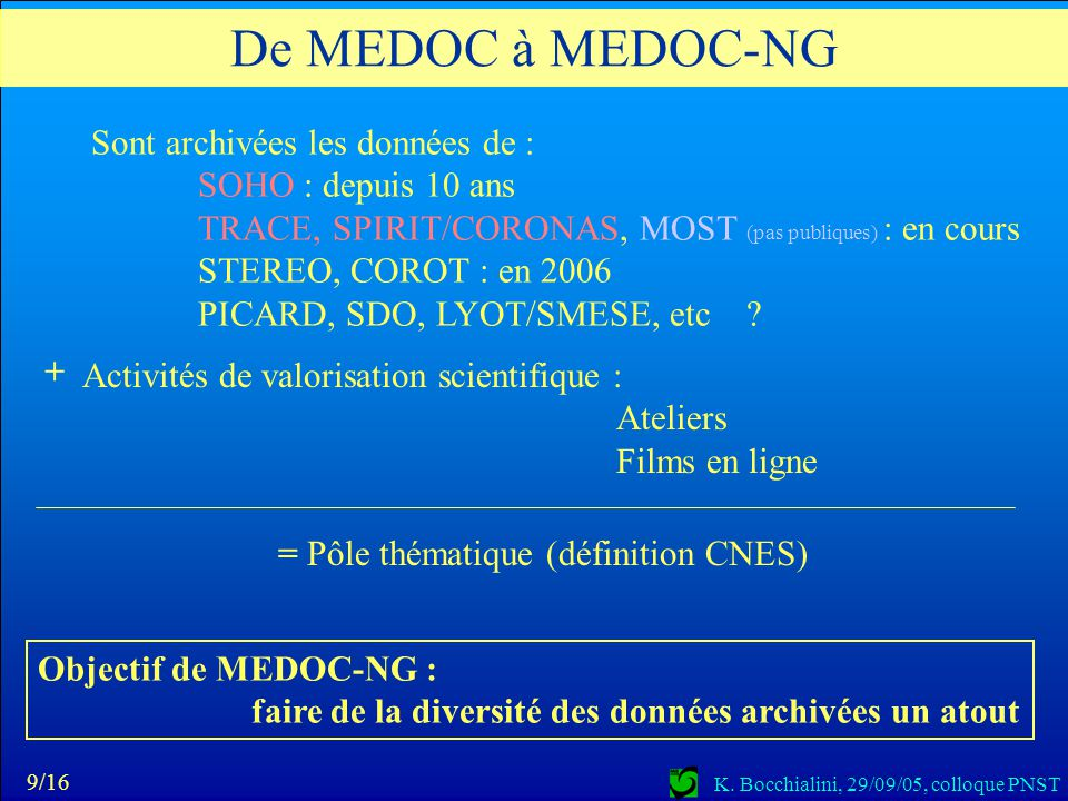De MEDOC à MEDOC-NG Sont archivées les données de :