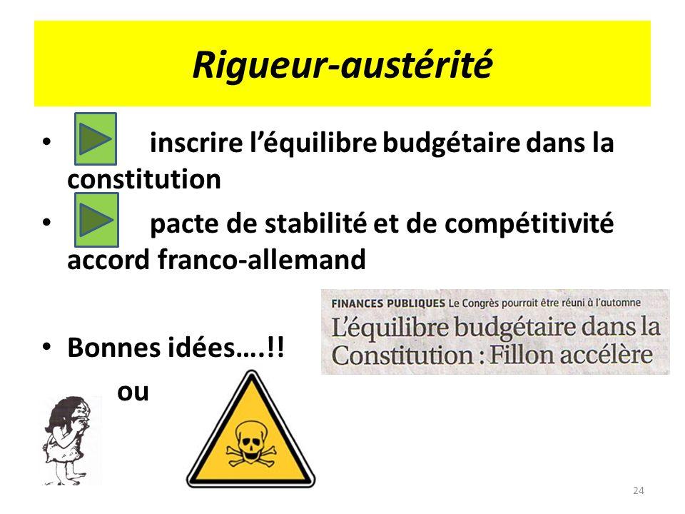 Rigueur-austérité inscrire l'équilibre budgétaire dans la constitution