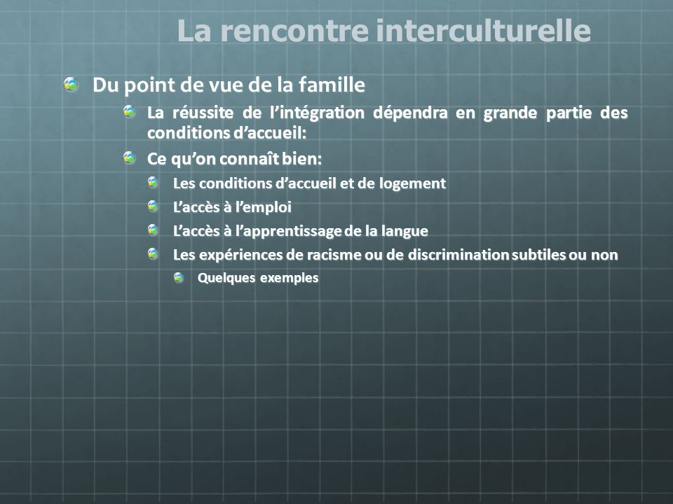La rencontre interculturelle