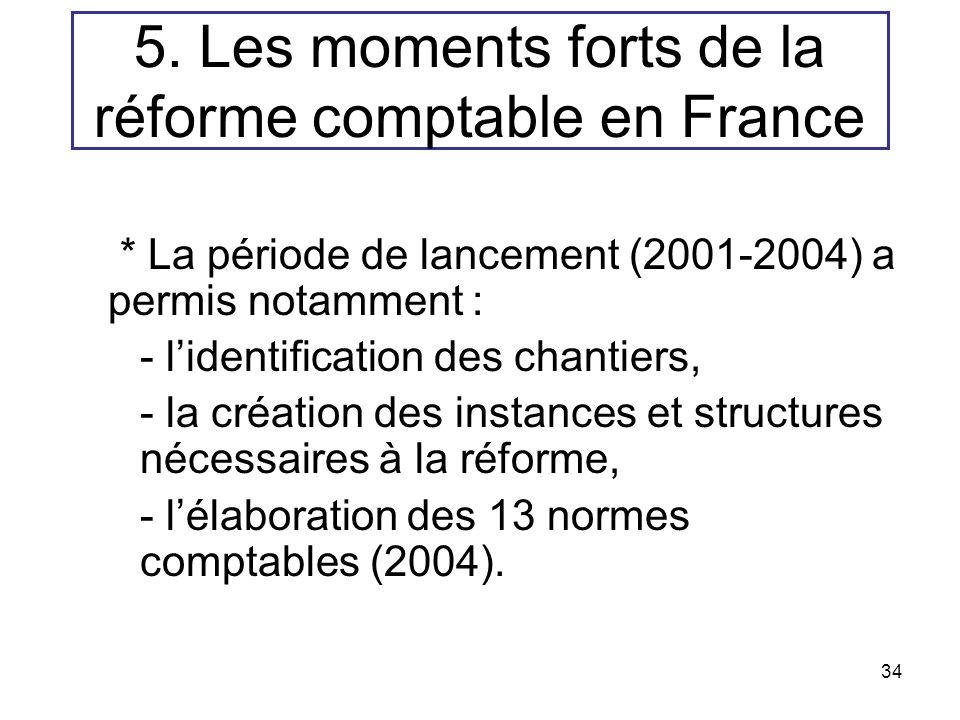 5. Les moments forts de la réforme comptable en France