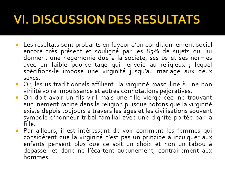 VI. DISCUSSION DES RESULTATS