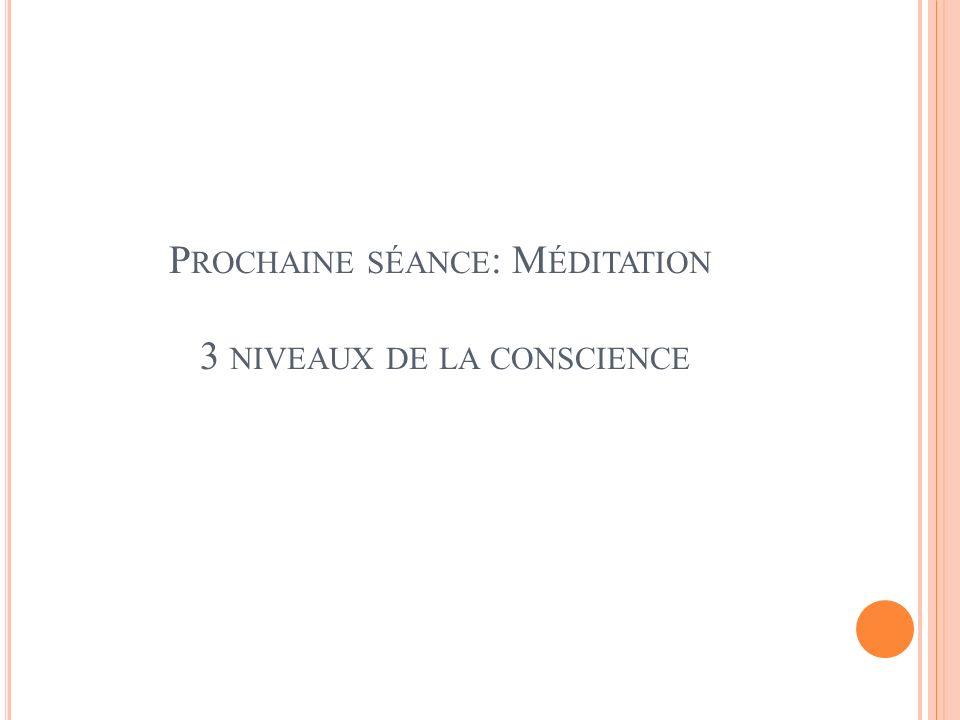 Prochaine séance: Méditation 3 niveaux de la conscience