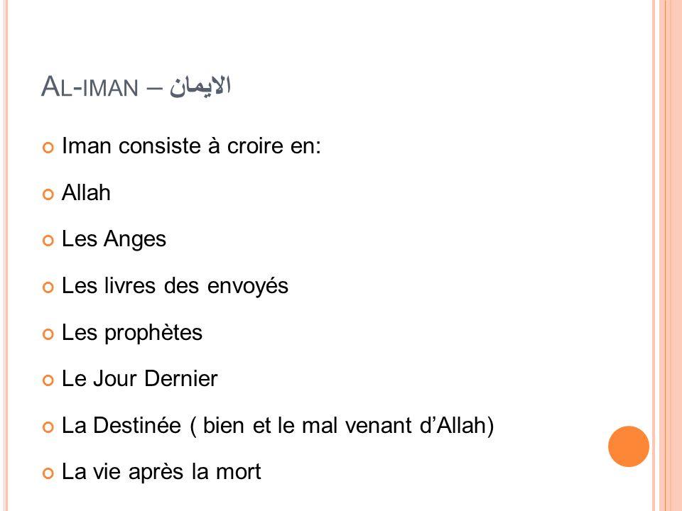 Al-iman – الايمان Iman consiste à croire en: Allah Les Anges