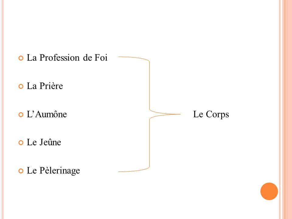 La Profession de Foi La Prière L'Aumône Le Corps Le Jeûne Le Pèlerinage