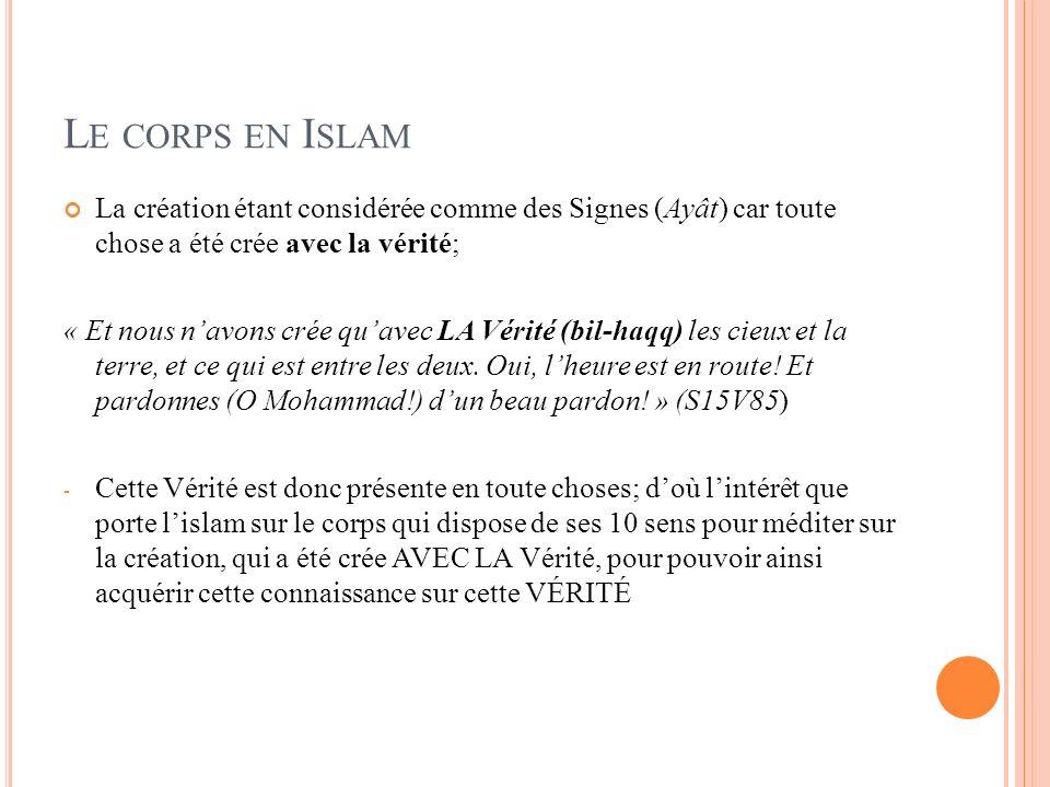 Le corps en Islam La création étant considérée comme des Signes (Ayât) car toute chose a été crée avec la vérité;
