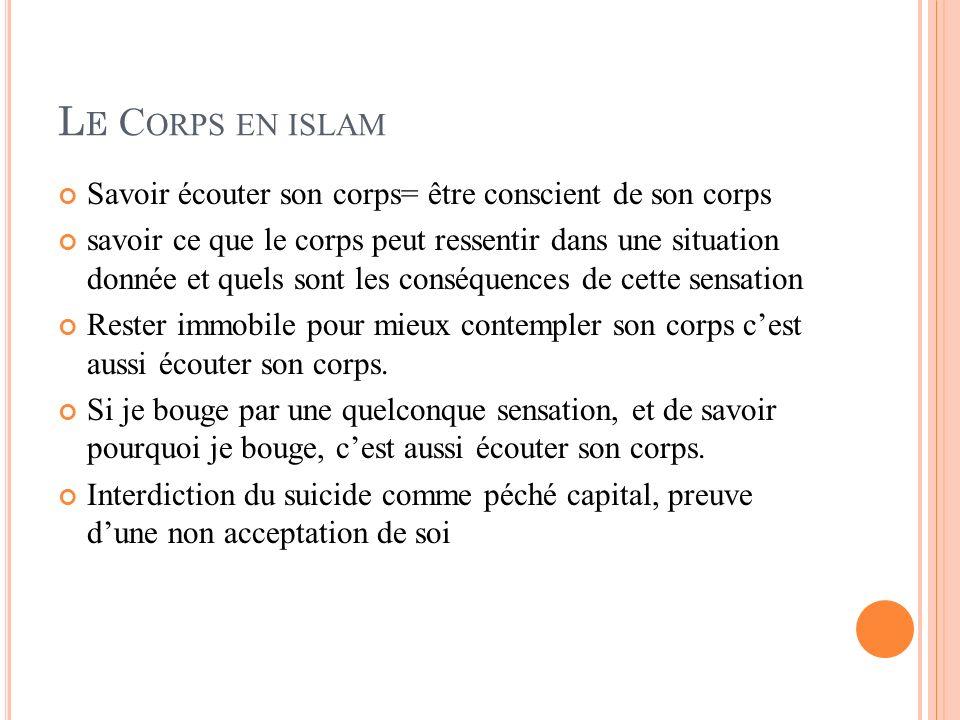 Le Corps en islam Savoir écouter son corps= être conscient de son corps.