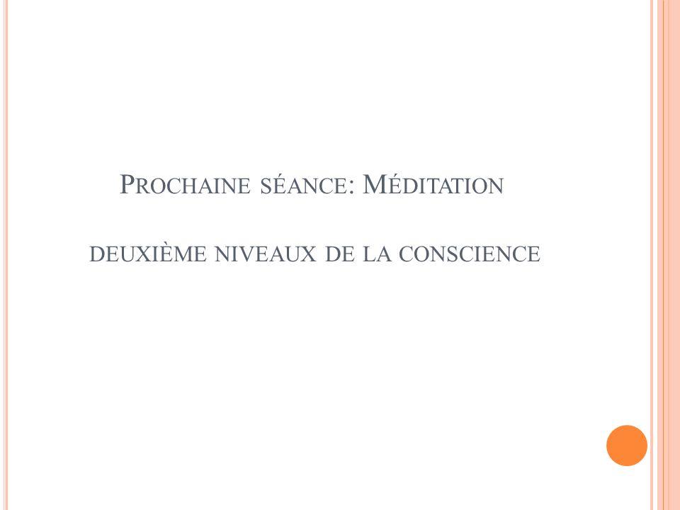 Prochaine séance: Méditation deuxième niveaux de la conscience