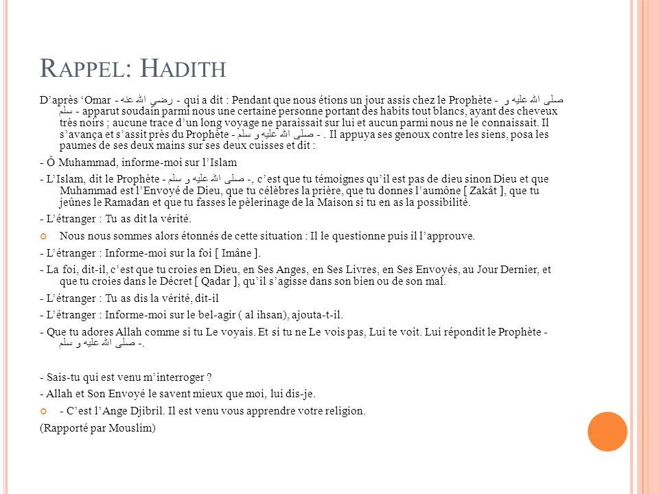 Rappel: Hadith