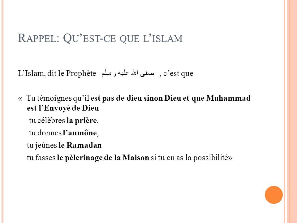 Rappel: Qu'est-ce que l'islam