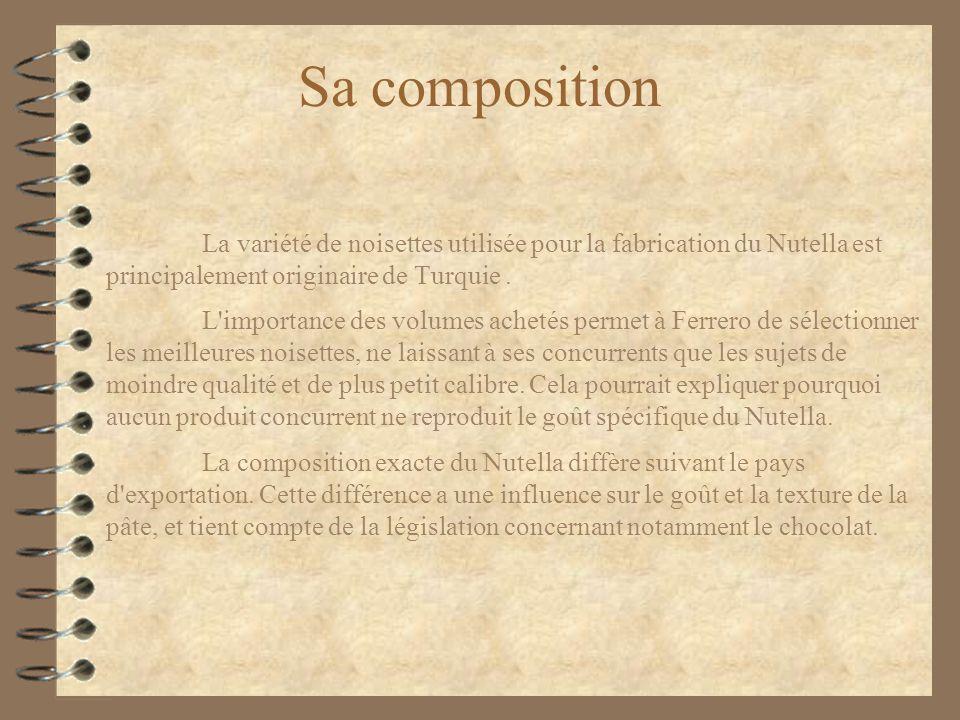Sa composition La variété de noisettes utilisée pour la fabrication du Nutella est principalement originaire de Turquie .