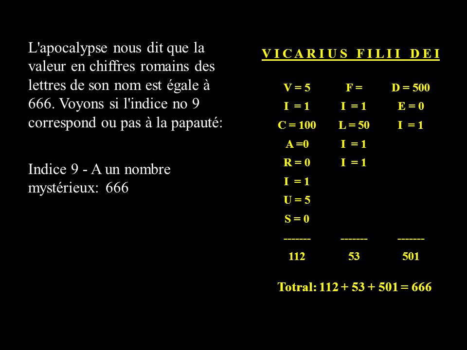 Indice 9 - A un nombre mystérieux: 666