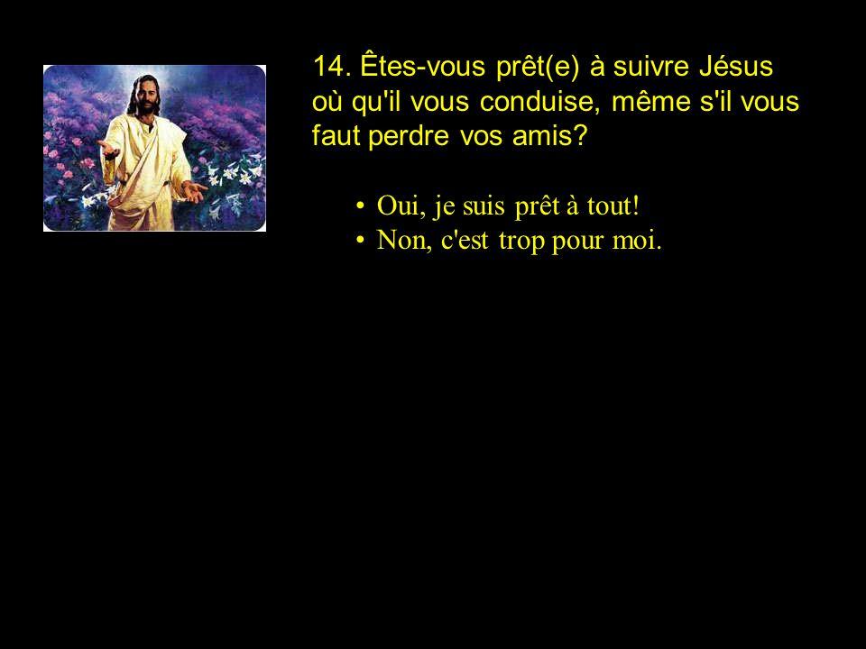14. Êtes-vous prêt(e) à suivre Jésus où qu il vous conduise, même s il vous faut perdre vos amis