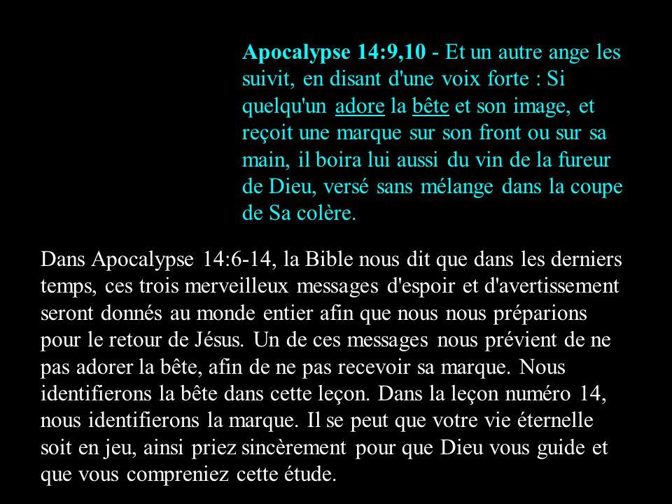Apocalypse 14:9,10 - Et un autre ange les suivit, en disant d une voix forte : Si quelqu un adore la bête et son image, et reçoit une marque sur son front ou sur sa main, il boira lui aussi du vin de la fureur de Dieu, versé sans mélange dans la coupe de Sa colère.