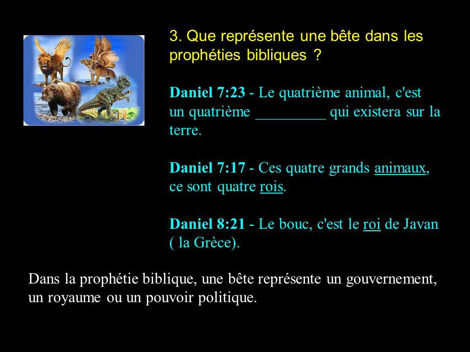 3. Que représente une bête dans les prophéties bibliques