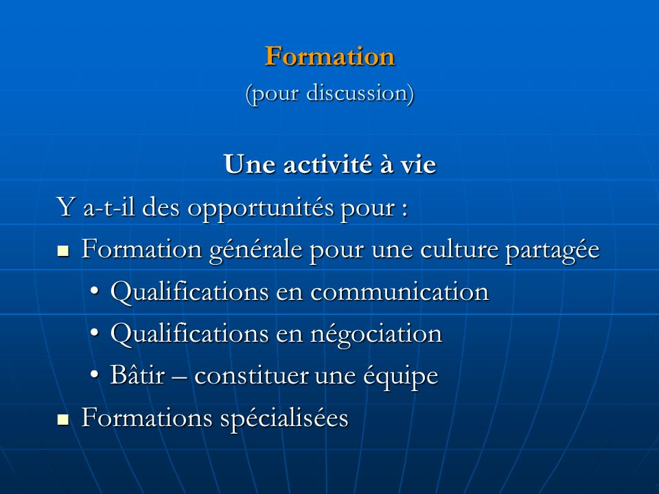 Formation (pour discussion)