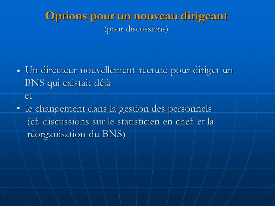 Options pour un nouveau dirigeant (pour discussions)