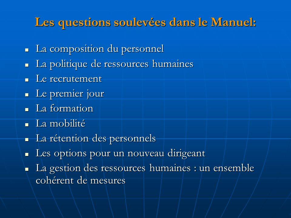 Les questions soulevées dans le Manuel: