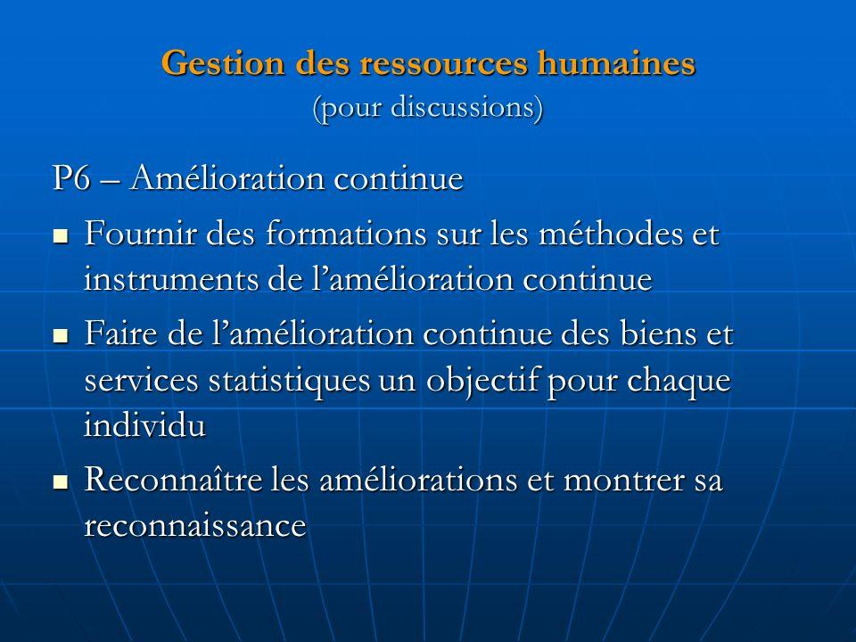 Gestion des ressources humaines (pour discussions)