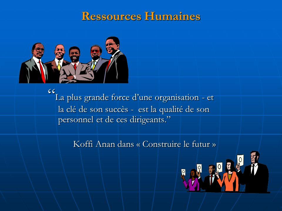 Ressources Humaines La plus grande force d'une organisation - et la clé de son succès - est la qualité de son personnel et de ces dirigeants.