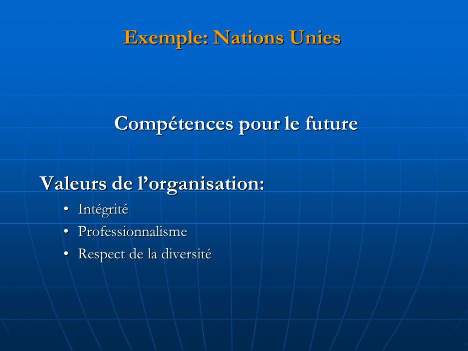 Exemple: Nations Unies