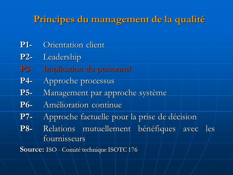 Principes du management de la qualité