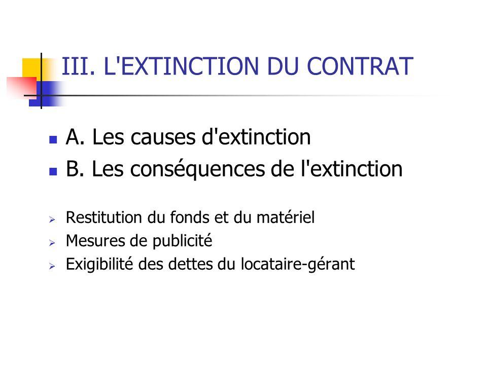 III. L EXTINCTION DU CONTRAT
