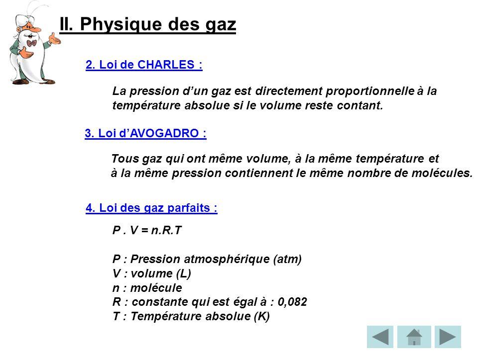II. Physique des gaz 2. Loi de CHARLES :