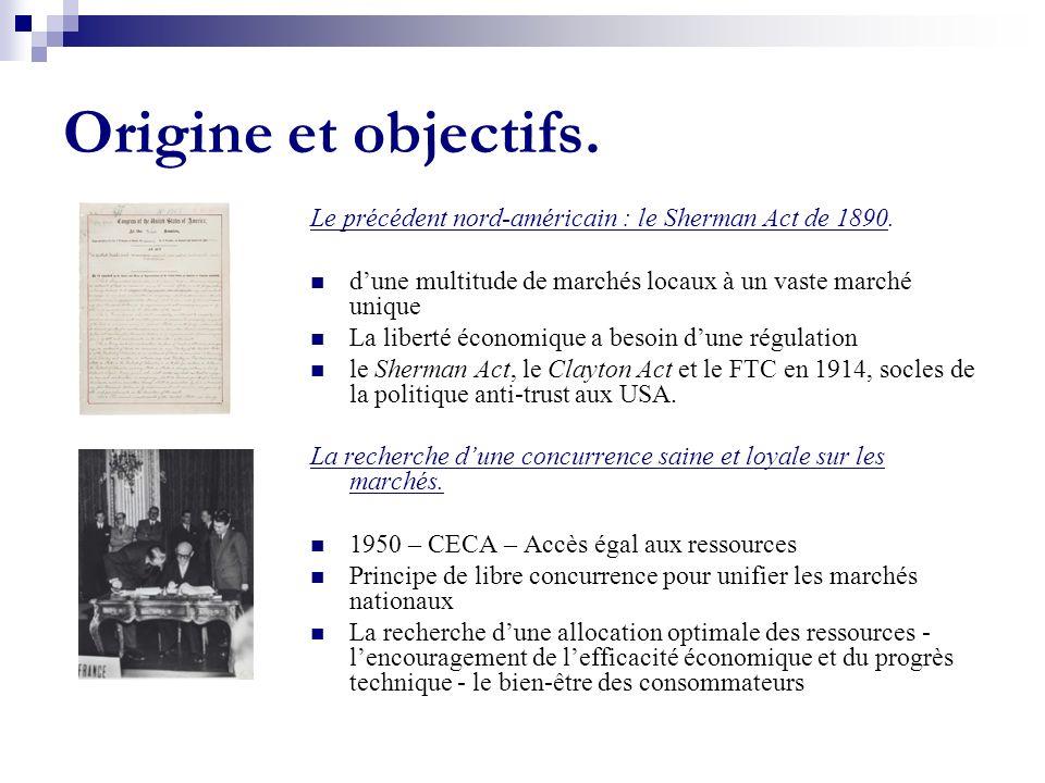 Origine et objectifs. Le précédent nord-américain : le Sherman Act de 1890. d'une multitude de marchés locaux à un vaste marché unique.