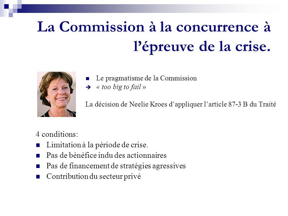 La Commission à la concurrence à l'épreuve de la crise.