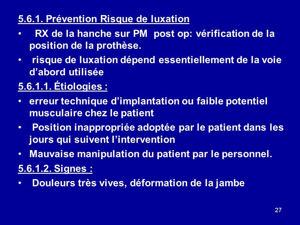 5.6.1. Prévention Risque de luxation