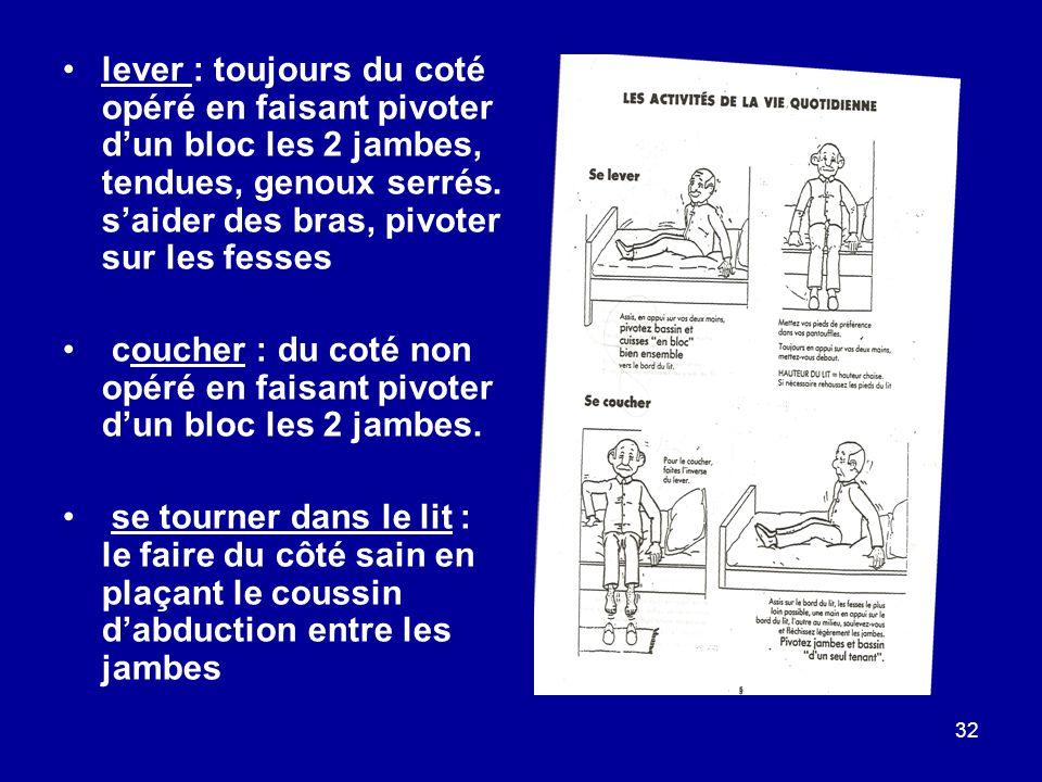 lever : toujours du coté opéré en faisant pivoter d'un bloc les 2 jambes, tendues, genoux serrés. s'aider des bras, pivoter sur les fesses