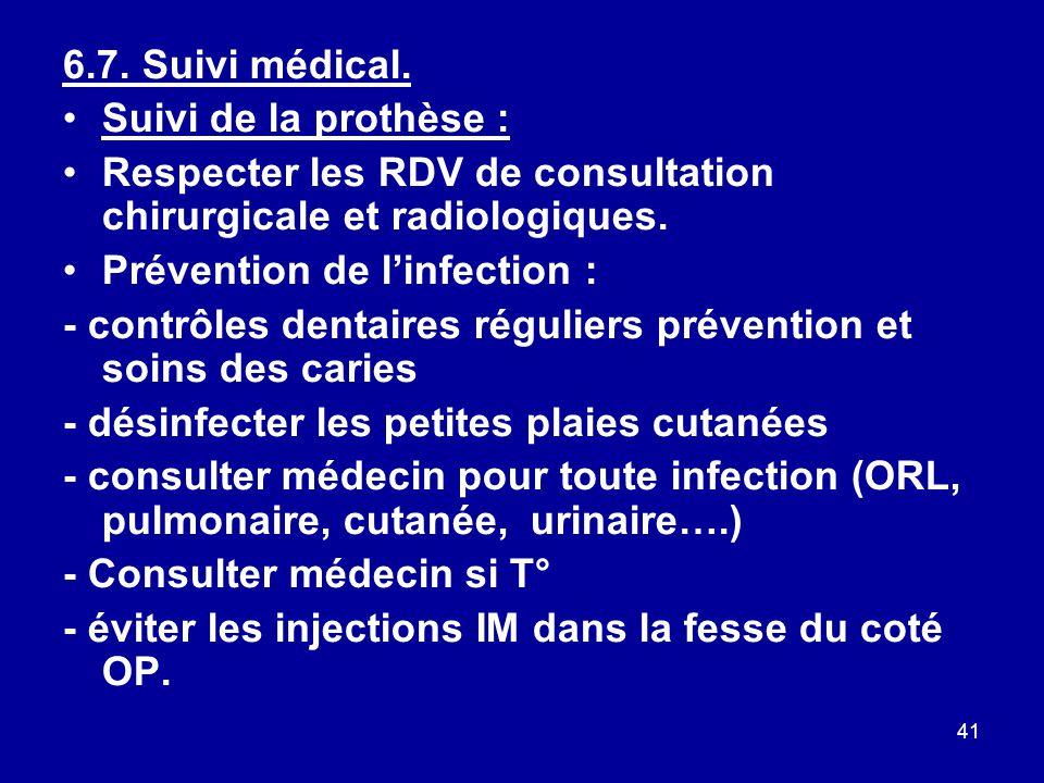 6.7. Suivi médical. Suivi de la prothèse : Respecter les RDV de consultation chirurgicale et radiologiques.
