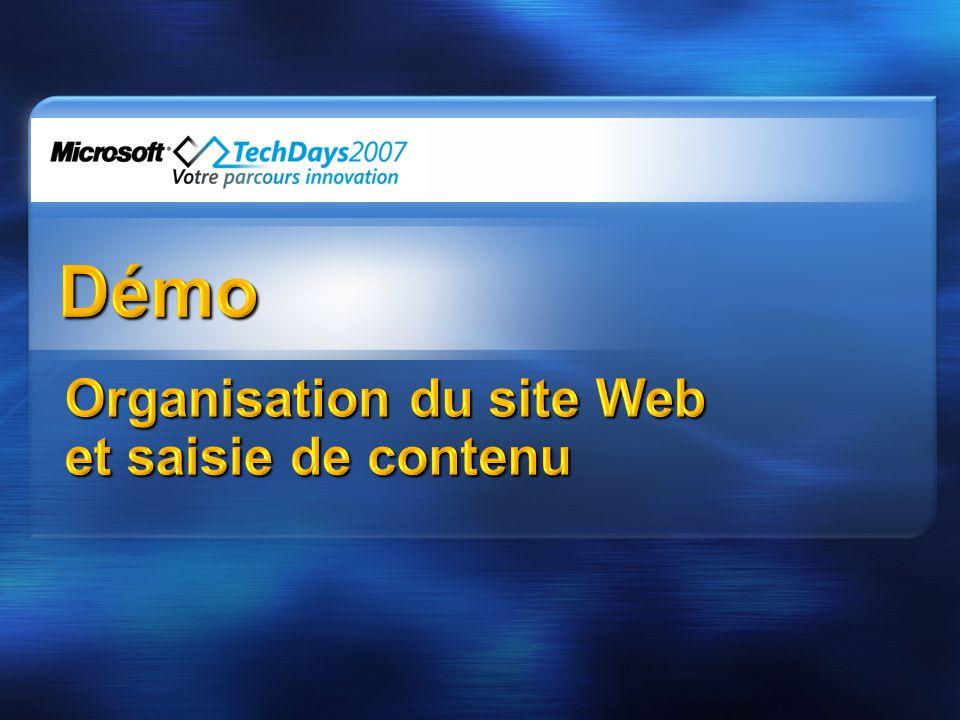 Organisation du site Web et saisie de contenu