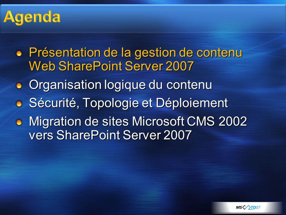 4/2/2017 8:13 AM Agenda. Présentation de la gestion de contenu Web SharePoint Server 2007. Organisation logique du contenu.