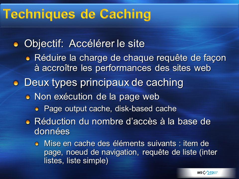 Techniques de Caching Objectif: Accélérer le site
