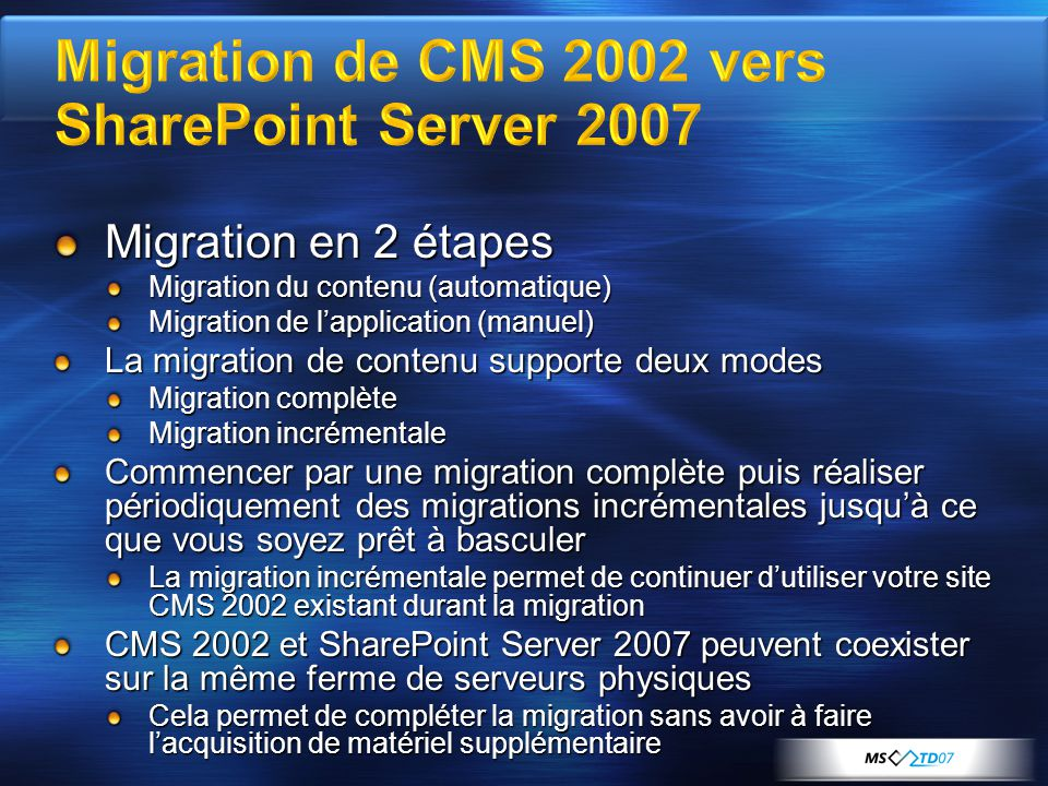 Migration de CMS 2002 vers SharePoint Server 2007