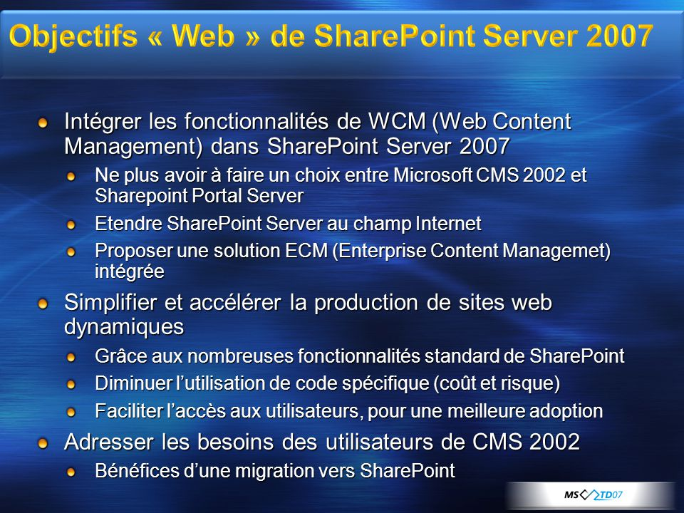 Objectifs « Web » de SharePoint Server 2007