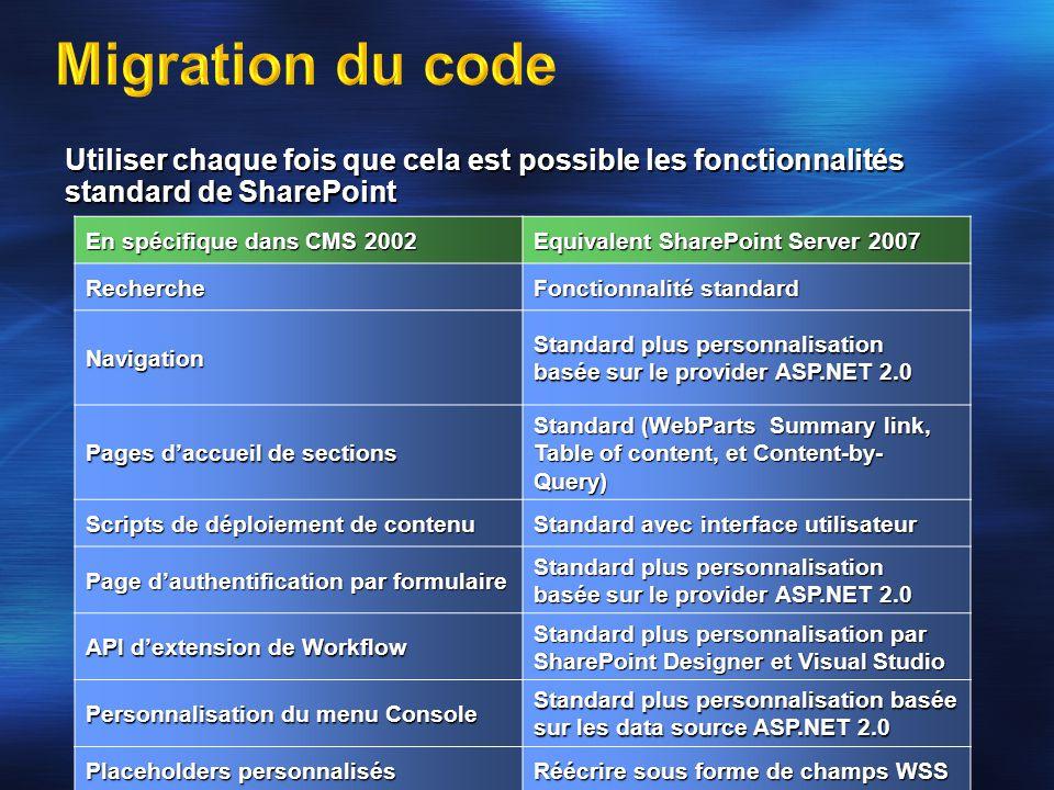 4/2/2017 8:13 AM Migration du code. Utiliser chaque fois que cela est possible les fonctionnalités.