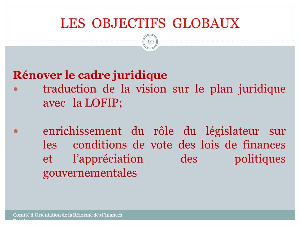 LES OBJECTIFS GLOBAUX Rénover le cadre juridique. traduction de la vision sur le plan juridique avec la LOFIP;