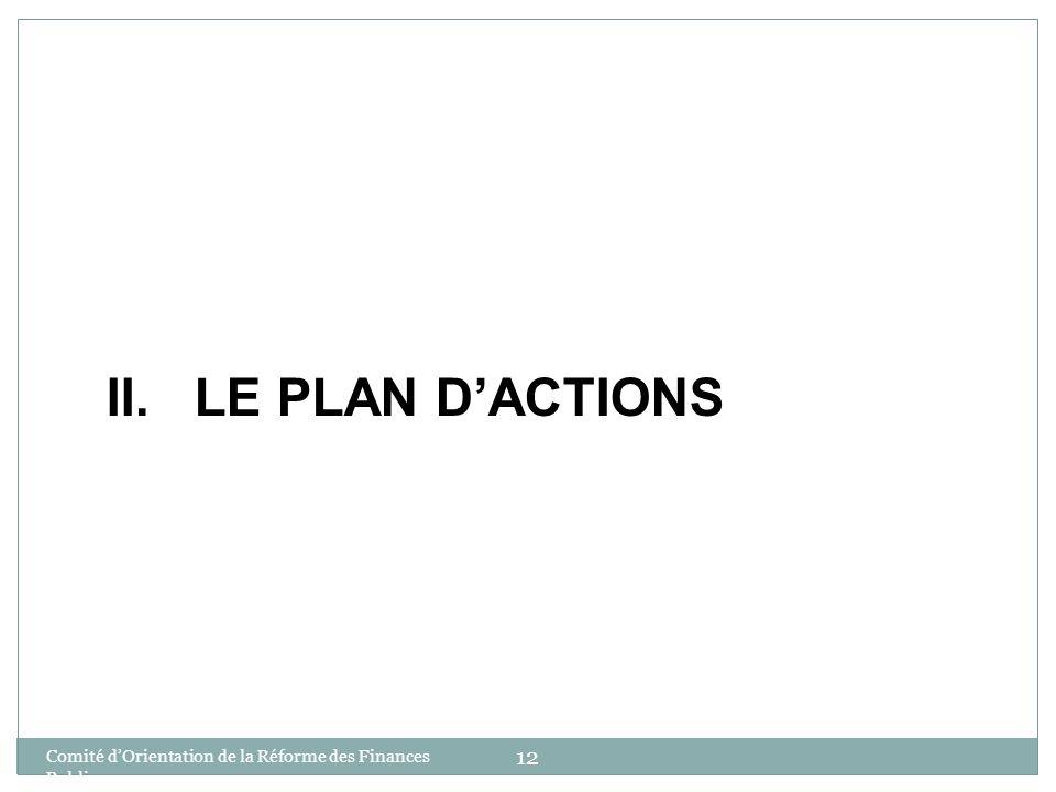 II. LE PLAN D'ACTIONS Comité d'Orientation de la Réforme des Finances Publiques