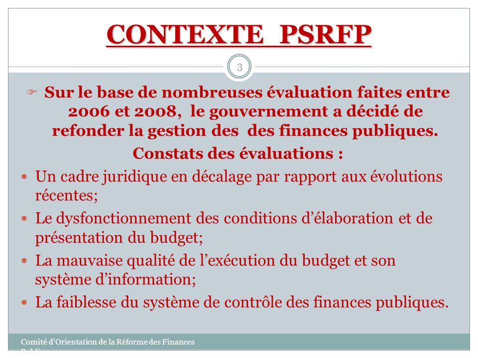 Constats des évaluations :